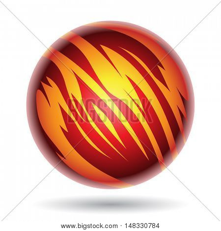 Illustration of Red and Yellow Planet Sphere isolated on a white background