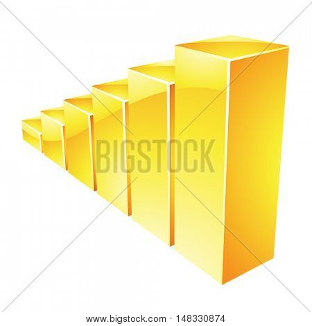 Illustration of Yellow Glossy Stat Bars isolated on a white background