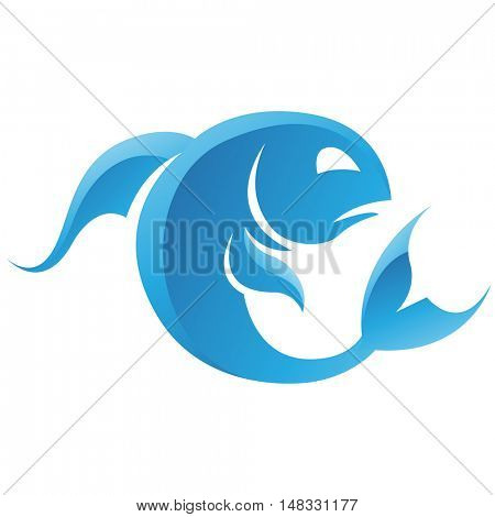 Illustration of Pisces Zodiac Star Sign isolated on a white background