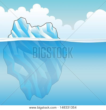 Blue Iceberg on a bright cloudy day Illustration