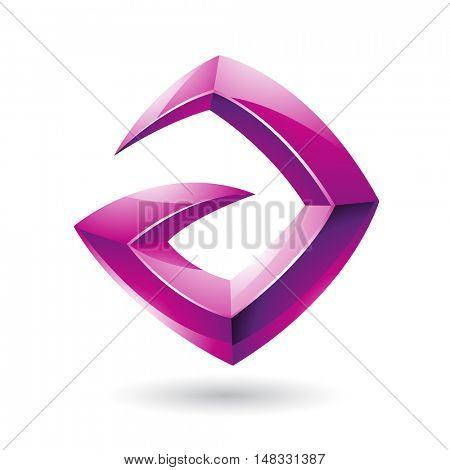 Illustration of a 3d Sharp Glossy Magenta Shape based on Letter A