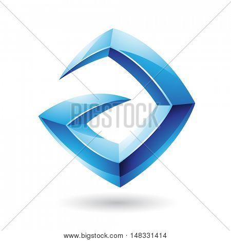 Illustration of a 3d Sharp Glossy Blue Shape based on Letter A