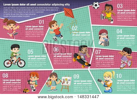 Vector brochure backgrounds with happy cartoon children playing. Infographic template design.