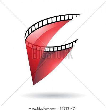 Red Transparent Film Reel Isolated on a white background