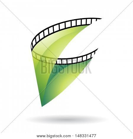 Green Transparent Film Reel Isolated on a white background