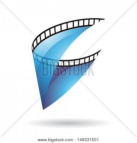Blue Transparent Film Reel Isolated on a white background