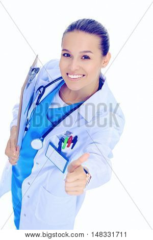 Smiling doctor woman in blue uniform with stethoscope showing okay sign hand gesture isolated on white background