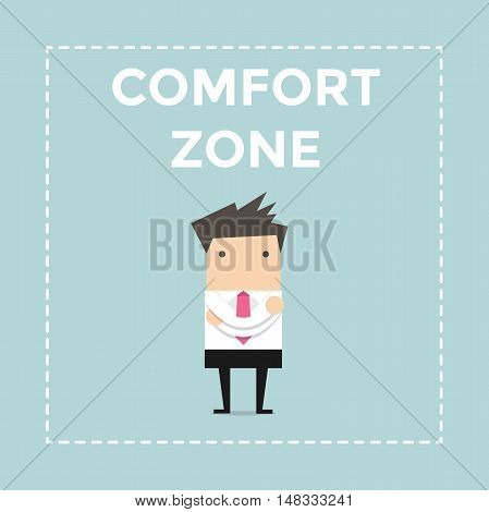 Businessman standing in comfort zone. vector illustration