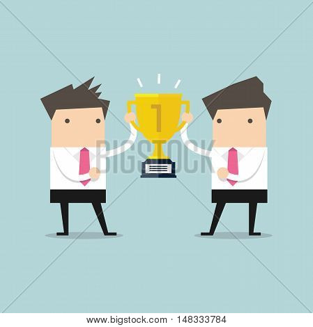 Two businessmen holding gold winner cup together. vector