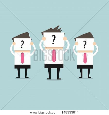 Businessman hold signs with question marks, as yet unable to determine who they are. vector