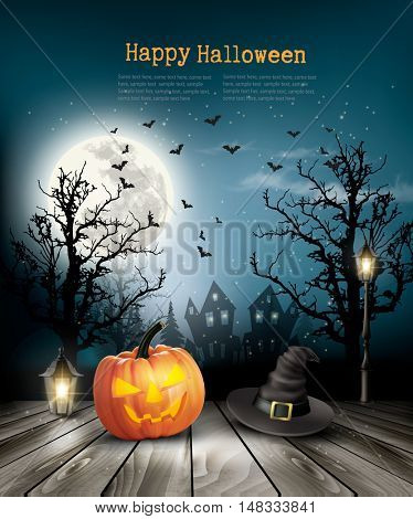 Scary Halloween background with a old paper. Vector.