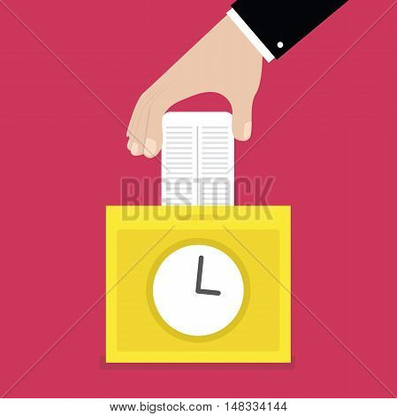 Hand putting card in time clock recorder. vector