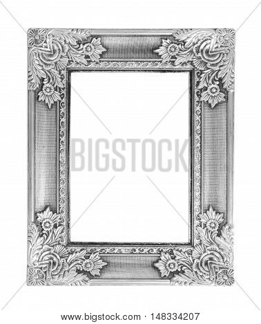 Old antique silver frame isolated on white background