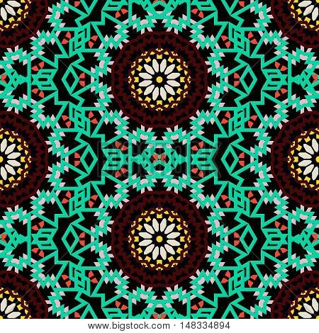 Vector tribal colorful bohemian pattern with big abstract flowers in rich dark color. Geometric boho chic background with Arabic, Indian, Moroccan, Aztec ethnic motifs. Bold ethnic print with mandalas
