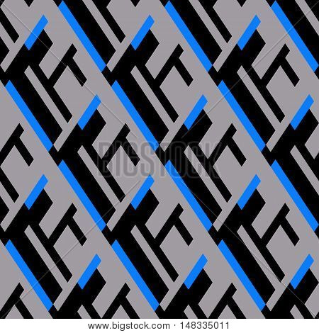 Vector geometric seamless pattern with lines and overlapping shapes in black, grey, blue color. Modern bold print with diamond shapes for fall winter fashion. Abstract dynamic techno op art background