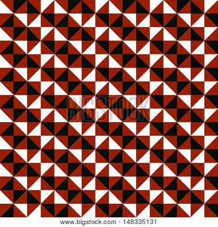 Small geometric abstract mosaic pattern with triangles and simple shapes in black, white, brown colors for fall winter fashion. Abstract dynamic techno op art background. Seamless vector textile print
