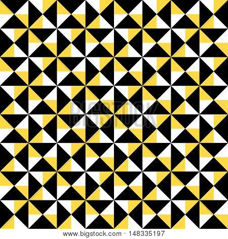 Small geometric abstract mosaic pattern with triangles and simple shapes in black, white, yellow color for fall winter fashion. Abstract dynamic techno op art background. Seamless vector textile print