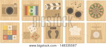 wood board icons and vector icon 1