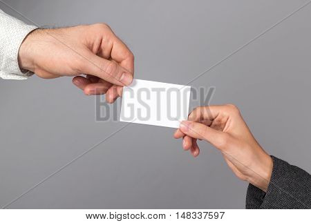 Man and woman holding blank business card. Branding, brand, template, identity, design, letterhead, business, envelope, print, mock-up, mock up, mockup.