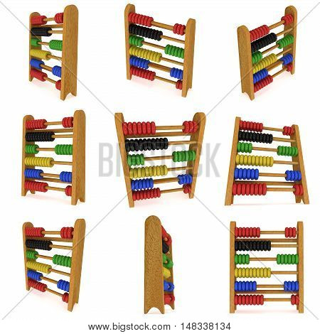 3d wooden colorful toy abacus set collection. 3d render illustration isolated on white. Education concept.