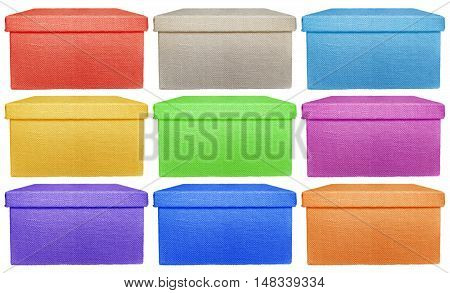 Closed colorful boxes wrapped by burlap canvas isolated on a white background