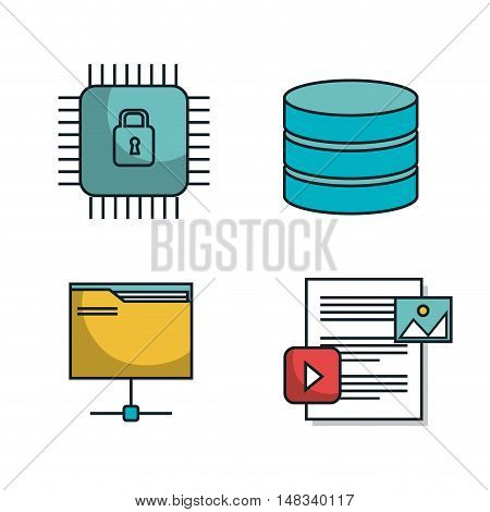 data center tower folder secure isolated vector illustration eps 10