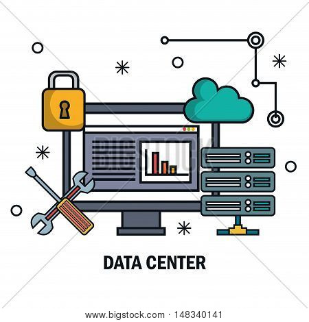 tools data server screen pc isolated vector illustration eps 10