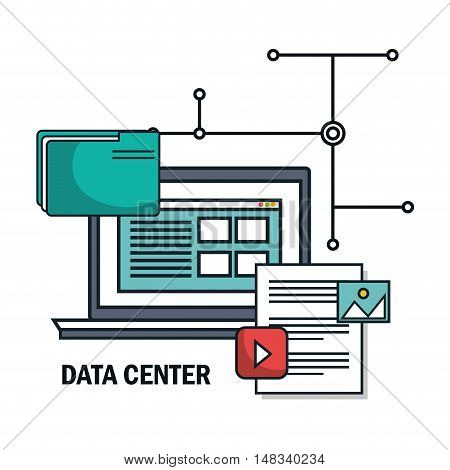 laptop archive document files isolated vector illustration eps 10