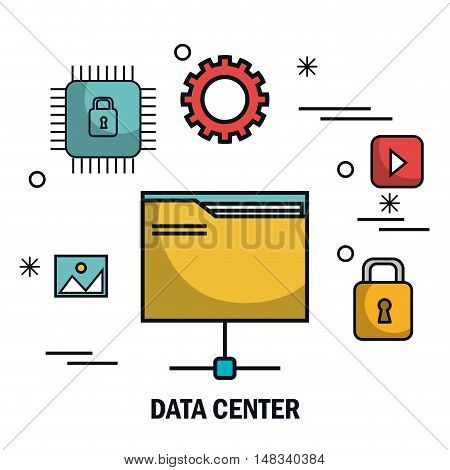 files security data center server isolated vector illustration eps 10