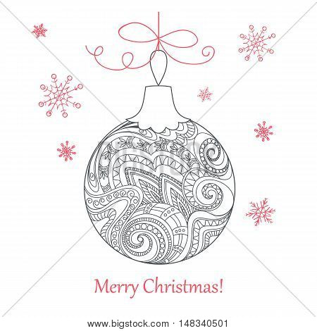 Festive card with Christmas ball decorated hand drawn doodle tangled flowers and snowflake isolated on the white and text Merry Christmas. Image can use for adult coloring book. eps 10