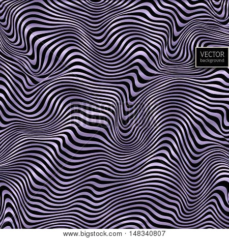 Wavy striped vector background. Violet pattern on black. Deformed space. Abstract curved lines.  Zebra effect. Vector illustration for your design.