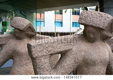 singapore, singapore - september 10, 2016: Urban Redevelopment Authority sculpture
