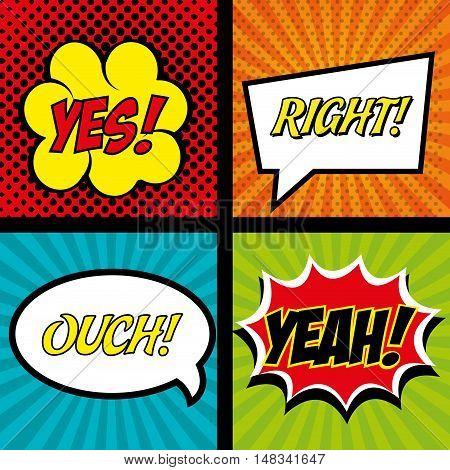 comics set bubble speech text graphic vector illustration eps 10