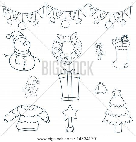 Stock collection christmas of doodle vector art illustration