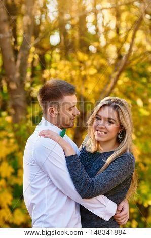 happy autumn couple in love portrait. outdoor