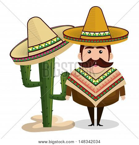 man mexican hat cactus graphic vector illustration eps 10
