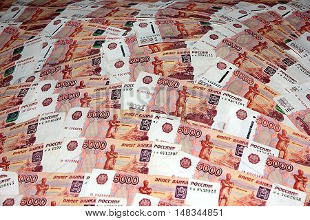 a large pile of paper the Russian banknotes