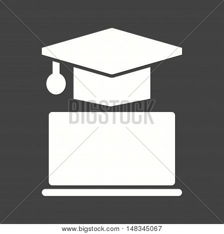 Online, degree, education icon vector image. Can also be used for E Learning. Suitable for mobile apps, web apps and print media.