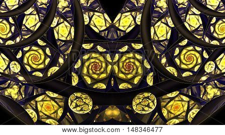 Abstract mosaic ornament with stylized golden roses on black background. Symmetrical pattern. Fantasy fractal design in navy blue orange and yellow colors.