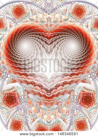 Mosaic heart. Abstract fantasy ornament on white background. Computer-generated fractal in red grey and brown colors.