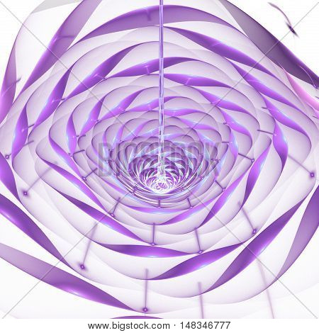 Abstract shining 3d flower on white background. Fantasy fractal design in faded blue pink and violet colors.