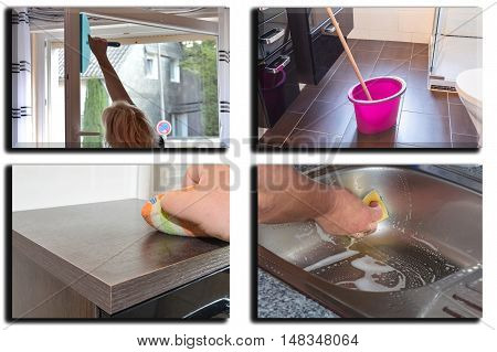 Image is divided into 4 sections about housework dust cleaning and floor cleaning.