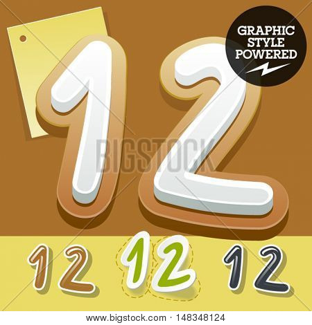 Vector set of handwritten delicious alphabet. Optional colorful graphic styles. Numbers 1 2