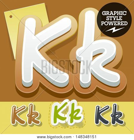 Vector set of handwritten delicious alphabet. Optional colorful graphic styles. Letter K