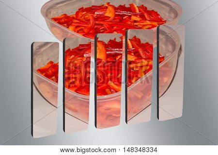 3D bar graph cut with photo of a red bell pepper slices.