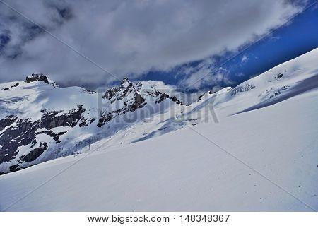 Mountain peaks beneath snow