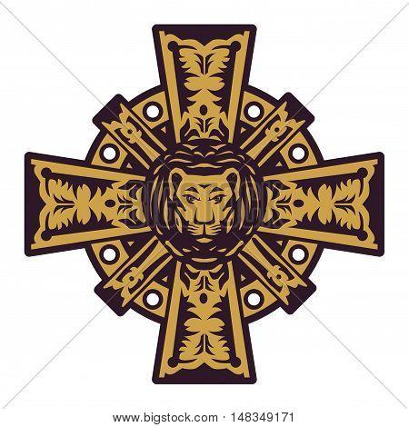Lion head and iron cross, vector illustration
