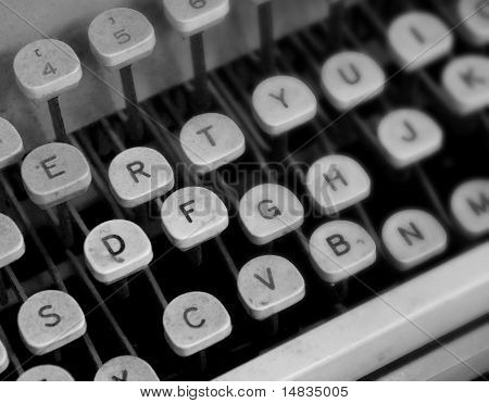 Old Black and White Typewriter