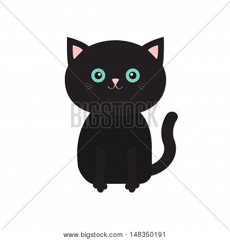 Cute sitting black cartoon cat with moustache whisker. Funny character. White background. Isolated. Flat design. Vector illustration