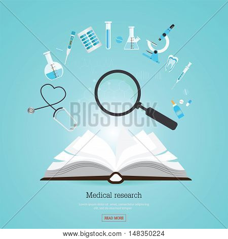 Medical research healthcare with open book and Medical equipment flat banners conceptual flat design vector illustration.